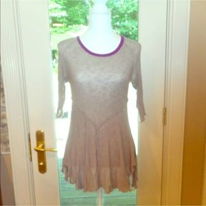 Free people sz Xs tan purple top shirt